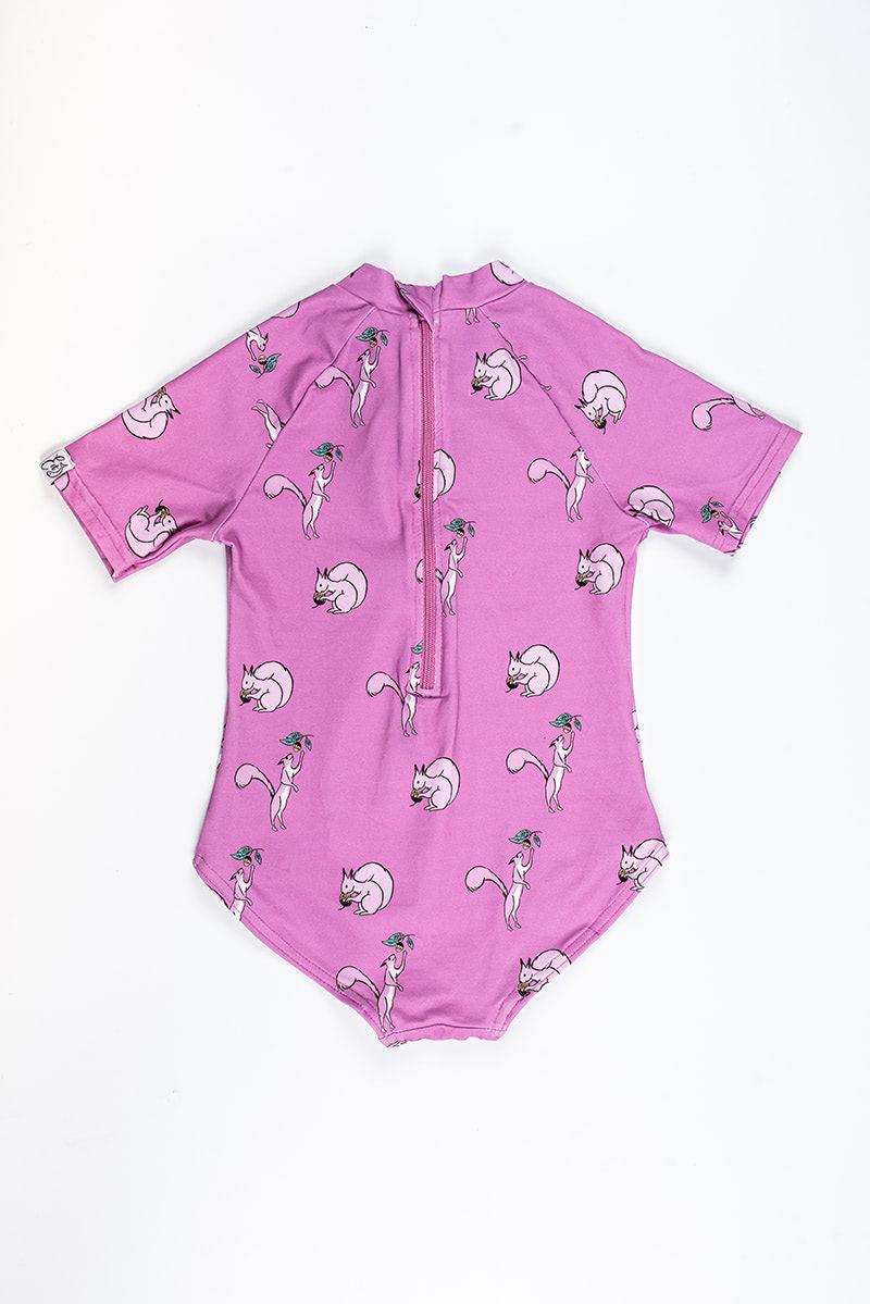 bañador bebé manga corta anti-uv print ardilla color rosa charm