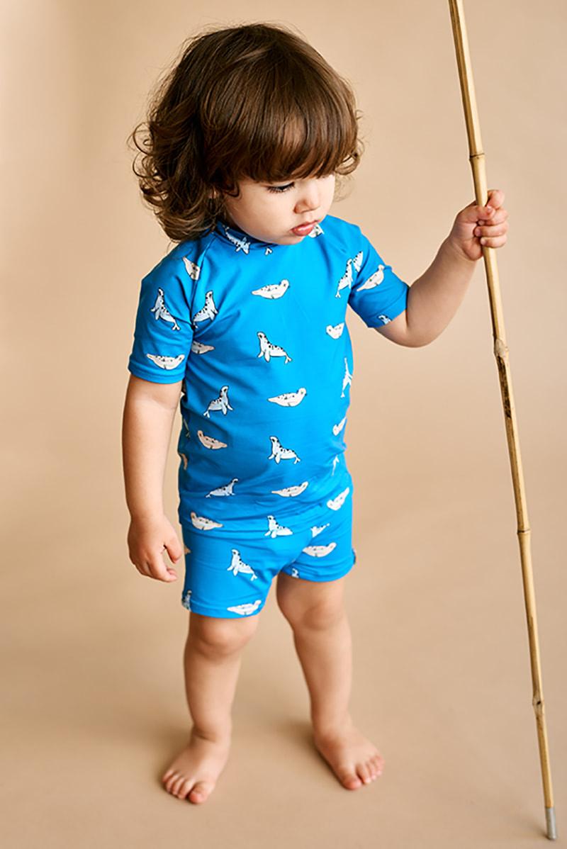 bañador infantil protección solar upf50+ print foca color azul océano