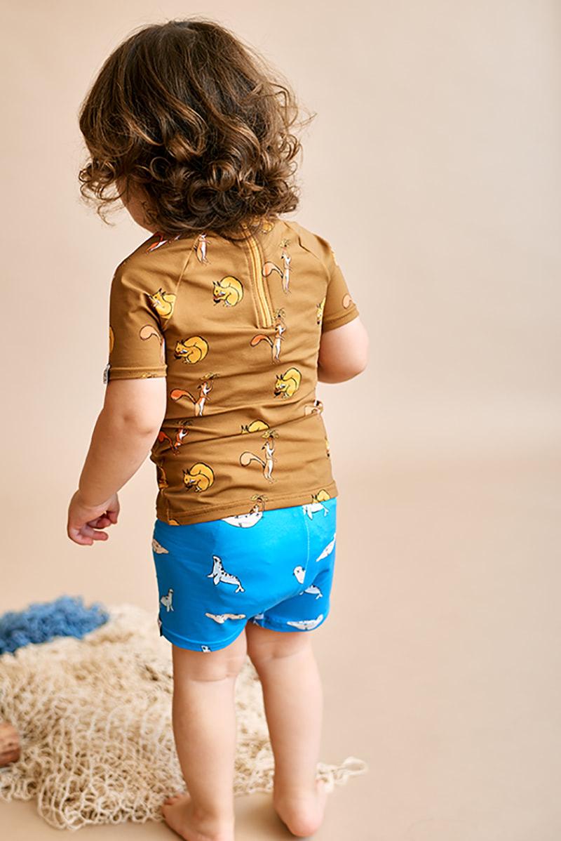 bañadores infantiles upf50 print foca color azul océano