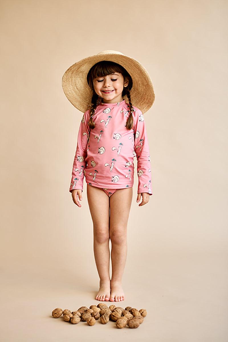 camiseta niños manga larga protección solar print ardilla color rosa melocotón